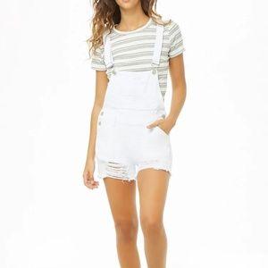 NWOT F21 denim overall shorts
